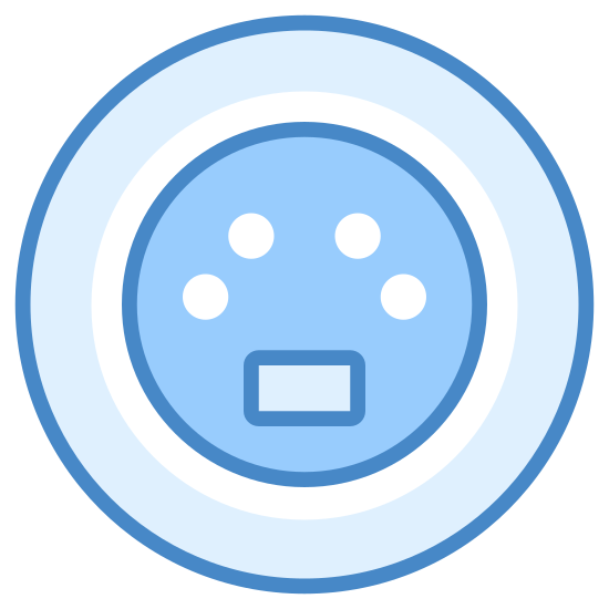 S-Video icon. The icon is a picture of an S-Video connector. The icon is in the shape of a circle. The circle has another circle like object in the center, which also has 4 circles inside of that.
