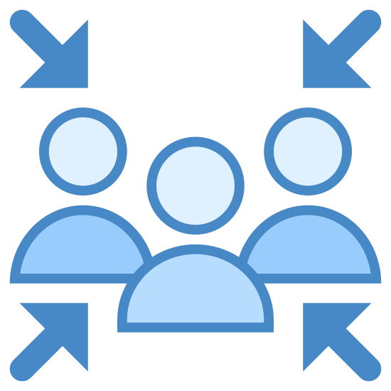 Sicherheitssammelplatz icon. The image is of a group of four people. All are shown as a simple head and shoulders outline only. They are close together in the center and there are four arrows pointing toward them from each diagonal direction.