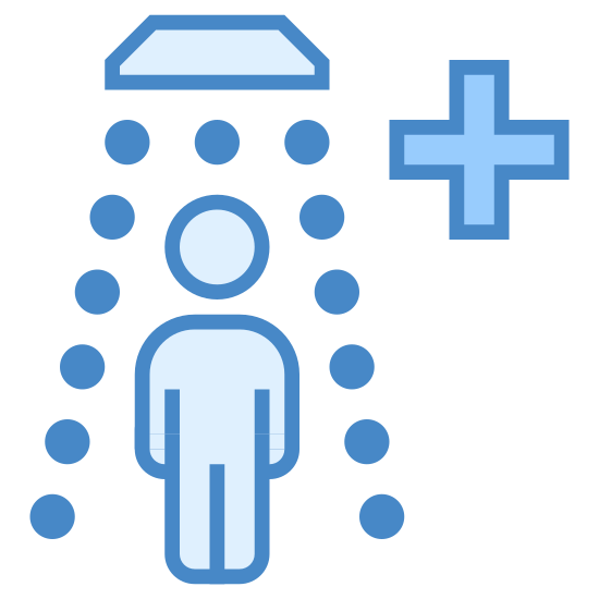 """Safety Shower icon. A person is standing under a fixture that is hanging above him/her. There are surrounding dots that are boxing in the person, running/descending until waist height. At the upper right the side of that image, are two intersecting perpendicular lines, identical to a mathematical """"plus"""" sign or a cross."""