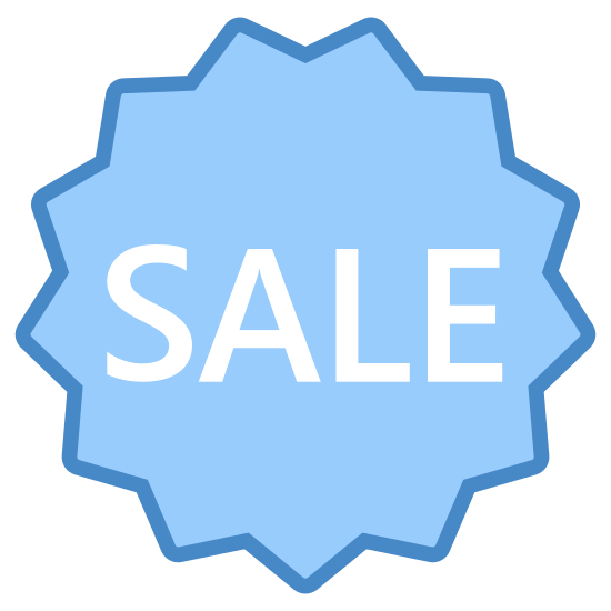 """Sale icon. This icon is the word """"sale"""" inside a 13 point star outline. The star outline is oriented so that vertically, there is a point on either side of the line of symmetry on the top, and the line of symmetry divides a point in half on the bottom of the star."""