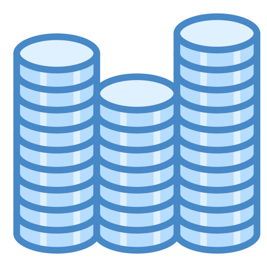 Wyniki sprzedaży icon. This icon shows three stacks of coins. There are 6 coins in the first stack, 4 coins in the second, and 9 coins in the third. All of the coins are round and give the impression of measuring performance.
