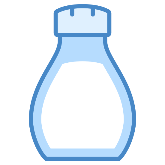 """Salt Shaker icon. This is a picture of a small salt shaker that is shaped like a bowling pin. The bottom is wide and has a large letter """"S"""" on it. The top has a small cover with two small holes for pouring."""