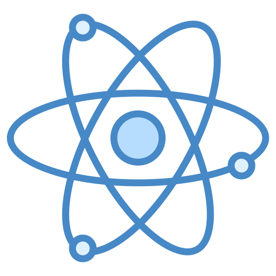 Satelity icon. The icon depicts three circular objects orbiting a planet, in this case Earth. The image is configured in the same way a neutron or atomic model is depicted, with three rings overlaying each other and the planet in the center of the rings.