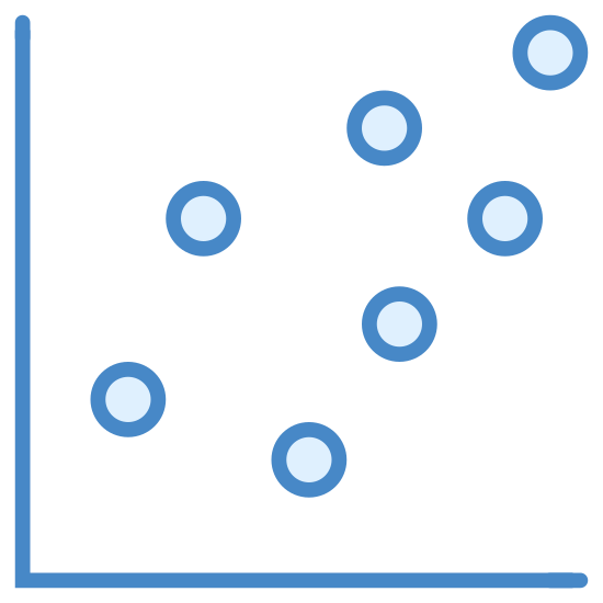Wykres punktowy icon. This is a photo of a 90 degree angle, or just the letter L. There are also 9 circles going from the lower left corner of the L to the upper right, symbolizing a graph.