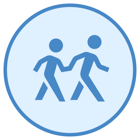 Patrulla de cruce escolar icon. A logo of two humanoid figures, one large, one small, holding hands. The logo is emplaced within a circle. The logo looks like a sign typically found on streets near schools urging caution to passing traffic.