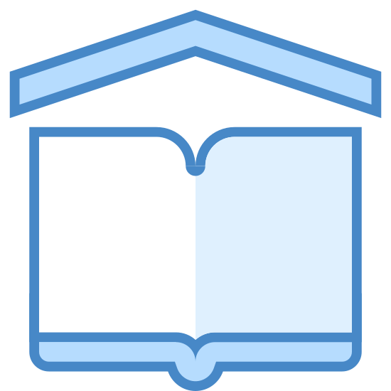 School icon. A school symbol is shown with an open book and on top of the book there will be a pointy tip similar to triangle except without the base. The triangle represents the roof top of the school building.