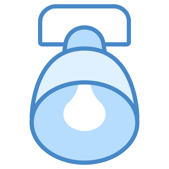 Scoop Lighting icon. It's a logo for scoop lighting reduced to a light fixture. It looks like a like fixture, but if you were looking at it from underneath. It has a normal hood and bulb and is stable at the base.
