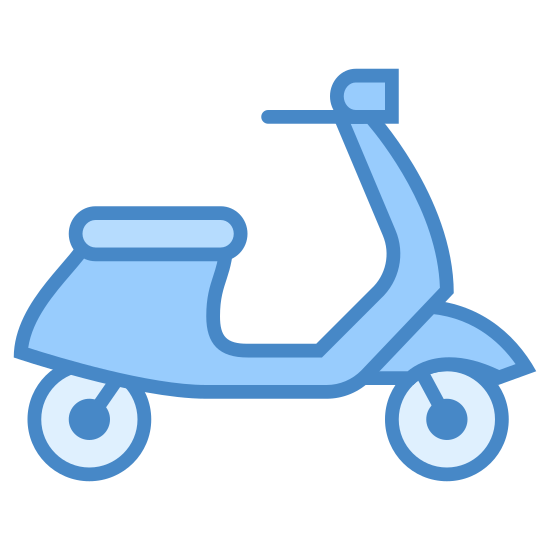 Scooter icon. This is a motorized scooter with two wheels, handlebars, and a flat seat. There is no one riding on it. The front wheel has a little cover over it, and the handlebar on the right side appears to be larger than the left.