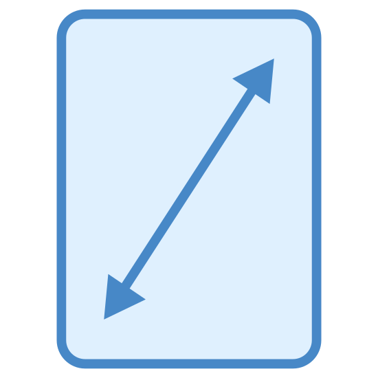 Rozdzielczość ekranu icon. This appears to be a rectangle situated vertically. There is a vertical line inside the rectangle, going from the bottom left corner of the rectangle to the top right corner. There are two small triangles, one connected to the bottom left of the line and one connected to the top right end of the line.