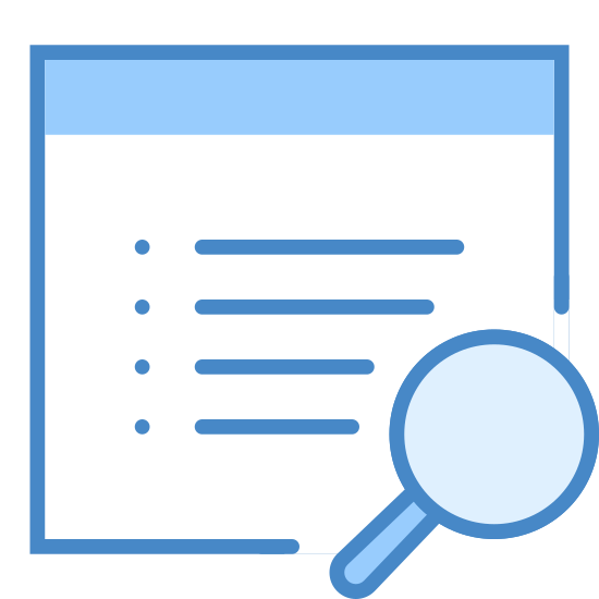 Recherche Immobilière icon. The image shows a square filled with dots and lines signifying writing.  There is a border at the top that gives the impression that this is an internet window. Overlapping the bottom corner of this window is a magnifying glass.