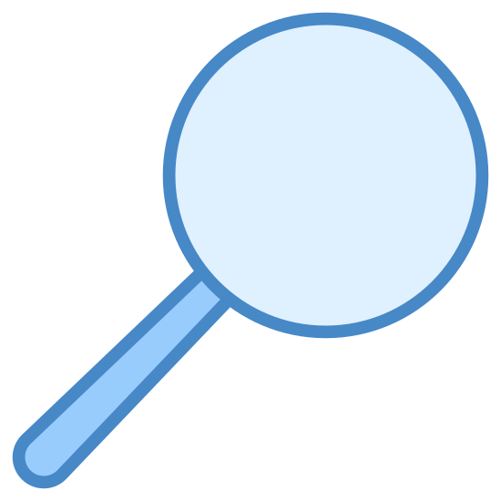Search icon. This icon is supposed to represent a magnifying glass. It's a large circle with a fat line protruding out from the bottom of it at an angle. The line is meant to represent the handle of the magnifying glass while the circle represents the magnifier portion.