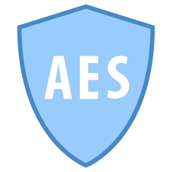 Security AES icon. There is a badge that looks like a shield, it has one point on top and spread symmetrically to two other points, then goes down to one point for the base of the shield. Written in the middle in all-caps are the letters AES.