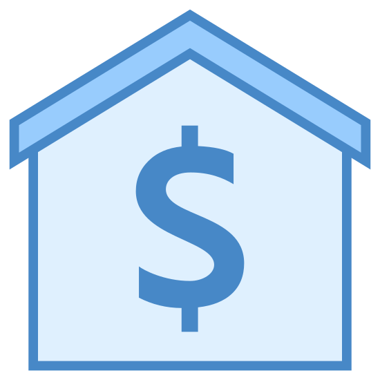 Sprzedaż nieruchomości icon. This is a picture of a house with a thin roof. you cannot see windows or a door, but a dollar sign in the center of the house. the roof of the house is pointed upwards.