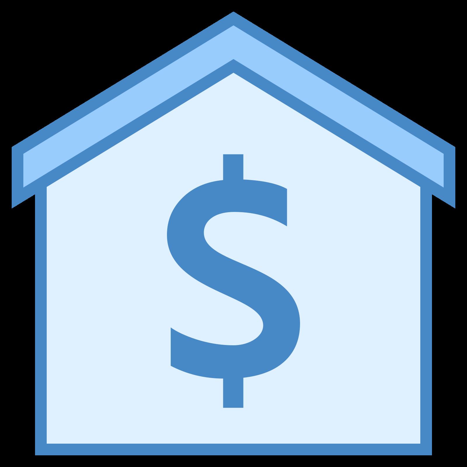 出售财产 icon. This is a picture of a house with a thin roof. you cannot see windows or a door, but a dollar sign in the center of the house. the roof of the house is pointed upwards.