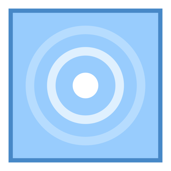 Sensor icon. This logo is a rounded rectangle with circles on the inside. There are four circles with increasing width and boldness as you get to the center. It looks like a bullseye.