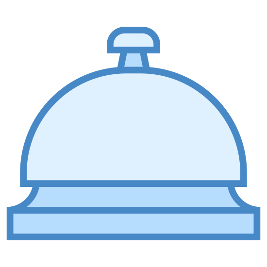 Service Bell icon. This looks like a half-circle on top of a long rectangle. The rectangle is going horizontally. A very tiny T is on top of the half-circle.