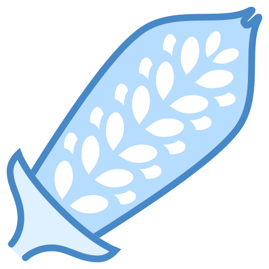 Sesame icon. This icon is depicting the pod of the sesame plant with its seeds clearly visible. The pod itself is oblong shaped and forms a point at the end. The object is tilted towards the right.