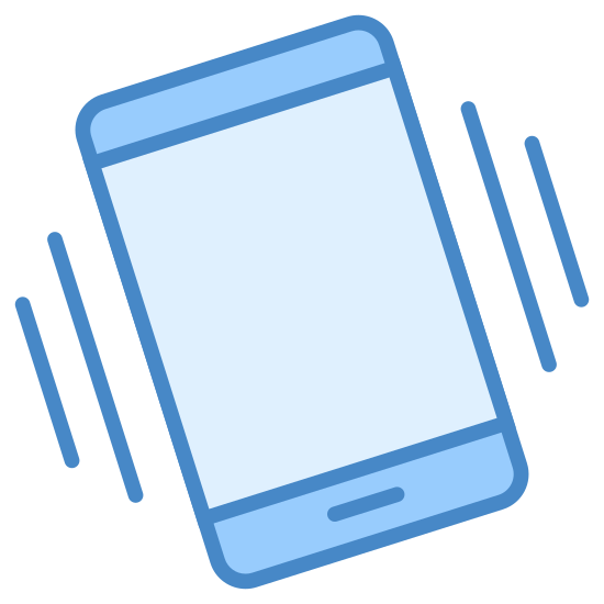 Shake Phone icon. This icon is depicting shaking your phone. There is a smartphone with two differently sized parallel lines on each side of it showing the shaking of the phone.