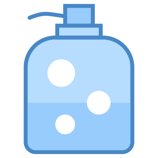 Dispenser icon. There is a square bottle half-filled with some bubbly liquid. protruding from the top of the bottle is a pump dispenser consisting of a push down mechanism and a spout for dispensing.