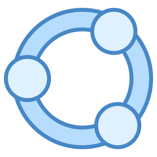 Teilen icon. This icon is three orbs connected with a tube. One orb is central while the two others jut out to the right, each at a different angle. A share icon is a user interface icon easily placed so that users can share content.