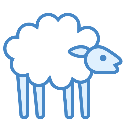 Sheep icon. The icon shows a sheep standing up on four stiff legs. It has a round ball of very fluffy fur covering its body with a bare head that is looking alert.