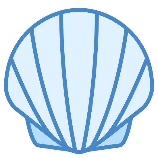 Shellfish icon. This is an image of a seashell. The shell has six lines on it and it is in the upright standing position. This is a cartoon desgin of a seashell and not like one you might find in real life.