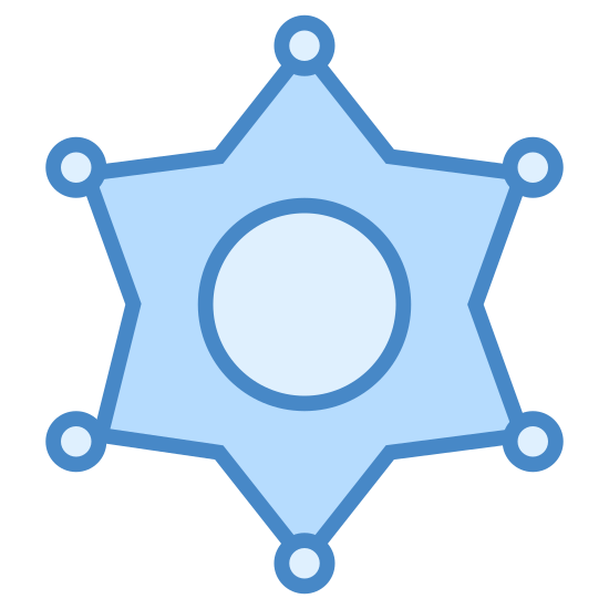 Szeryf icon. This can be described as a star with six edges whose edges contains a dot attached to them. Also there are two concentric circles at the center of the star.