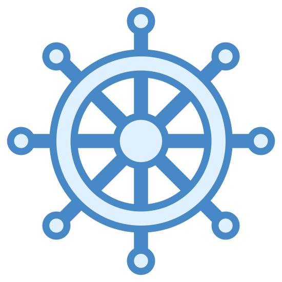 Ship Wheel icon. This is a standard icon that depicts a ship's navigation wheel. The wheel is evenly divided by eight spokes and is circular in shape.