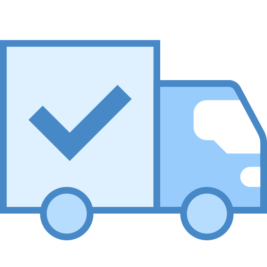 "Wysłane icon. The ""shipped"" icon is a plain, black and white box truck.  The truck is facing to the right so only 2 wheels can be seen.  It has a check mark on the trailer portion of the truck."