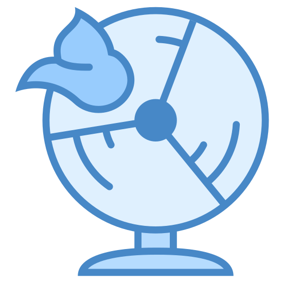 """Shit Hits Fan icon. The icon for """"shit hits fan"""" is shown as a fan. The fan has a rectangular base with a small piece directly above it, to which is attached the main portion of the fan, which is circular. On the left side of the main part of the fan is a piece of shit hitting the fan."""