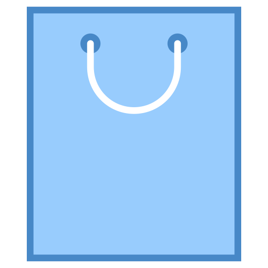 Sacola de compras icon. A shopping bag is a rectangle like container that has a circular string tied around it through two small circles. It is wrapped around your hand and can be carried around. It is used to go shopping, and ranges in sizes. The rectangle like bag either gets bigger or smaller depending.