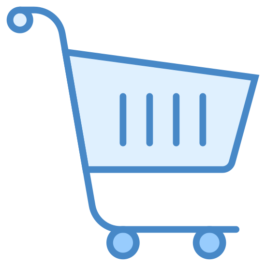 Shopping Cart icon. It's a logo for a shopping cart. There is a small basket on the cart and a long line that goes from the handle to the wheels underneath the basket. There is a little dot at the end of the handle and two circles on the other end of the line depicting the wheels.