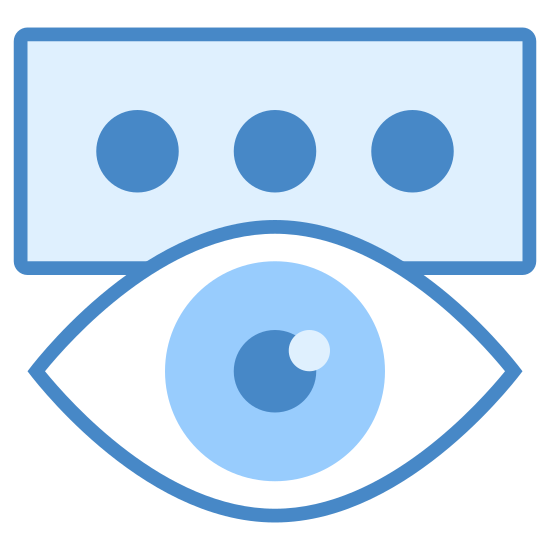Pokaż hasło icon. This is a picture of a rectangular shaped box with three circles in the center of it going horizontally across. on the bottom of the box is an eye that is wide open and you can see the pupil