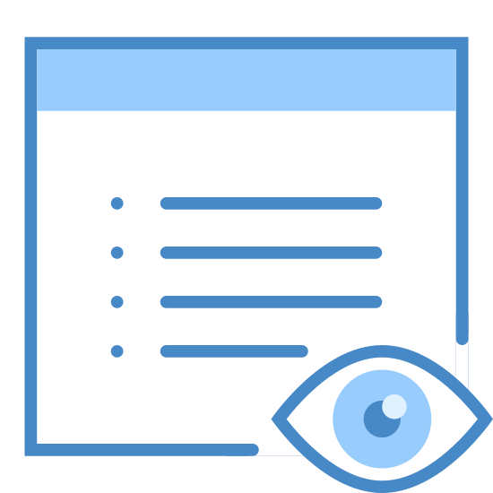 Show Property icon. It is an open eyeball sitting in front of a piece of paper. The paper has a blank top line, and 4 broken lines to symbolize writing.