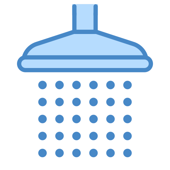 Shower icon. It's a picture of a shower head with black dots underneath it. Right under the head part there are 3 black dots and then underneath that is 4 black dots and underneath that is 5 black dots making it look like water coming ou like a shower is on.
