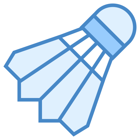 Shuttercock icon. This is a picture of a shuttercock from the game of Badminton. it has four angled sides and two lines that go horizontally across it. there is a circular shape at the end of it