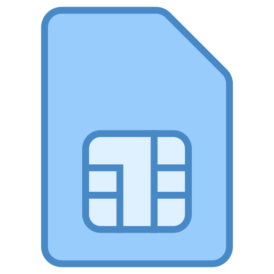 SIM Card icon. This icon is a sim card for a cellphone. It is rectangle with a cutoff edge on the top right hand side. It has square at the bottom with a design of smaller squares.