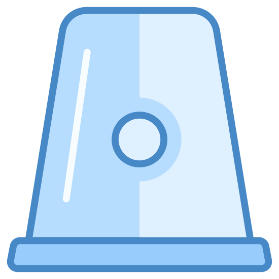 Siren icon. The icon resembles a traffic cone with a rounded top instead of a sharp top. It has a slim rectangular base and looks like an upside-down cup. There are six short lines evenly spread out and emanating from the cone that are intended to give the impression that the siren is making noise or flashing.