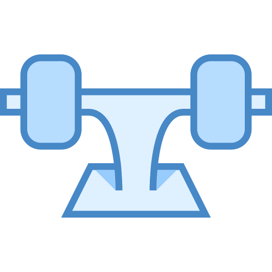 Skateboard Truck icon. The object shown is a skateboard truck that has been flipped upside down and has two wheels attached. There is only one skateboard truck shown and it is not bolted to a skateboard.