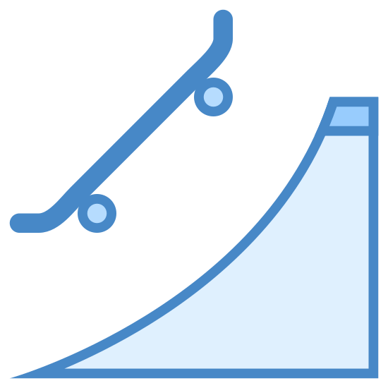 Parque de patinaje icon. This is a picture of a skateboard ramp. it is shaped like a triangle with a curved side above which is a skateboard flying in the air. the skateboard is not straight but has sides that curve upwards