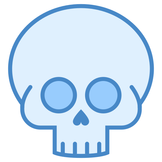 Skull icon. An empty skull, mandible missing. Clean of flesh, teeth missing, this skull has been uninhabited for a while. Staring blankly ahead at us, with empty, sightless eye sockets, and an inverted heart for a nose cavity.