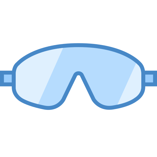 "Skydiving Gear icon. It's a logo for skydiving gear and shows goggles. The mask is facing to the left and is made up of two lines in the shape of a ""B"" pointing downwards. There are also two more parallel lines going around the mask to depict the straps."