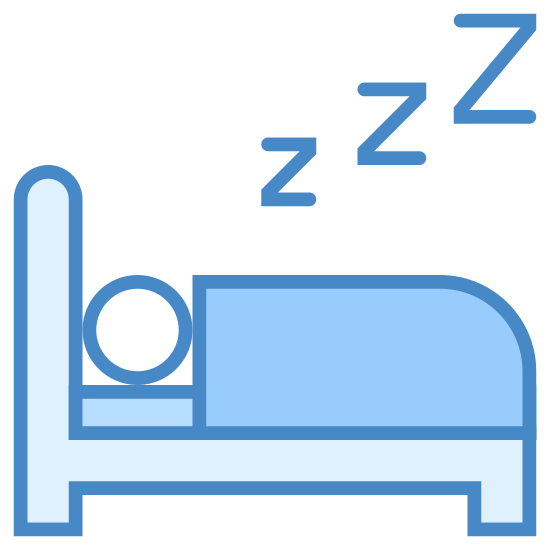 Spanie w łóżku icon. Seen from the side, a person lying down in bed, covered by a blanket. The bed has two legs and a headboard visible.  Only the sleeping person's head is visible. Zs are rising from his/her head.