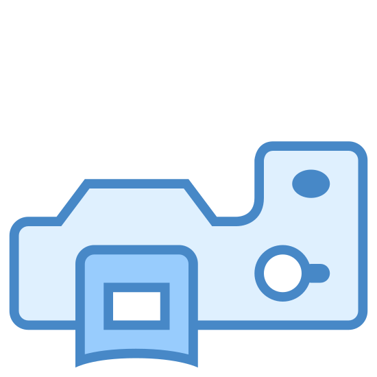 SLR icon. The logo for looks like a simplified image of the top of a camera. It kind of looks like an L that is laying on it's back with the bottom pointing up to the right side. There is also a double circle, a black dot, a striped rectangle, and a curved rectangle on the image.