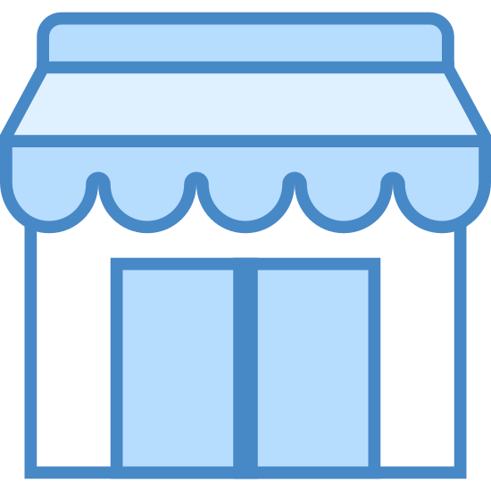 Small Business icon. This is an image of a storefront of a business.  The business is square shaped with a top awning.  There is a smaller rectangular area inside of the square, divided in half and shaped as two doors.