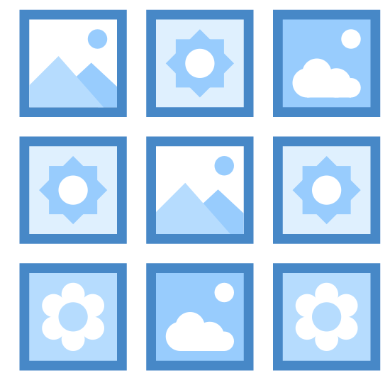 小アイコン icon. The small icons are represented by many tiny different images or icon. For example, there may be symbols for clouds, suns, mountains, flowers, etc. The images inside the icon are small and is surrounded by a square.