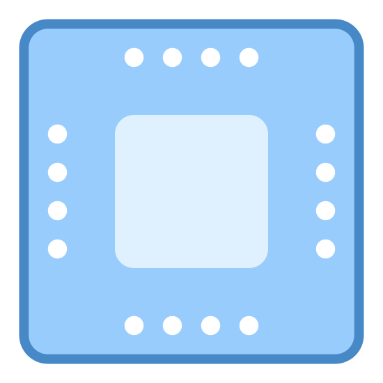Microchip icon. A square with slightly rounded corners, with a smaller square inside of it. Between the two squares, there are six closely spaced dots lining the sides, slightly closer to the outer square.