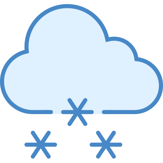 Śnieg icon. This is a picture of a cloud that is open at the bottom and has a snowflake in the opening. There are five smaller snowflakes falling from below it. It really shows how a cloud makes snow.