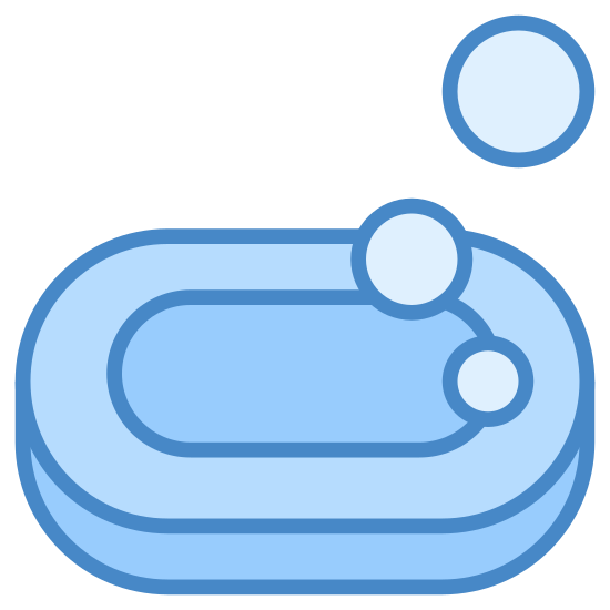 Soap icon. The icon is shaped like an oval with another oval inside of the first one. To the upper right side you can see two circles. The one closest to the oval is slightly smaller then the other one the is above to the right of the first one.