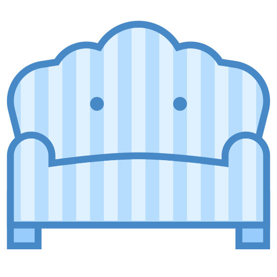 Sofa icon. It is an icon of a sofa. The sofa looks like it is comfortable with a large cushion, and it has armrests on each side. It has two legs beneath it that it rests on the floor on.